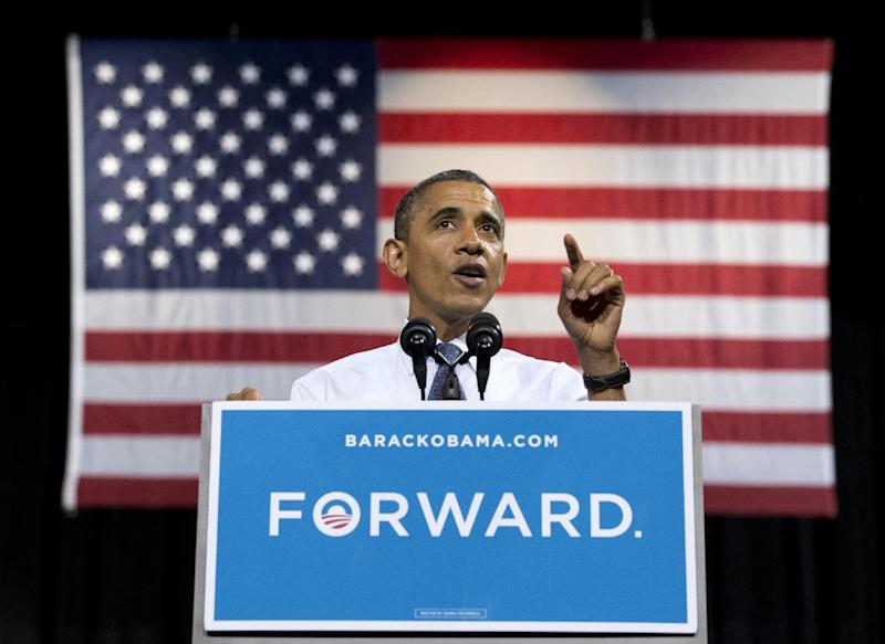President Barack Obama speaks at a campaign event at George Mason University, Friday, Oct. 5, 2012, in Fairfax, Va. (AP Photo/Carolyn Kaster)