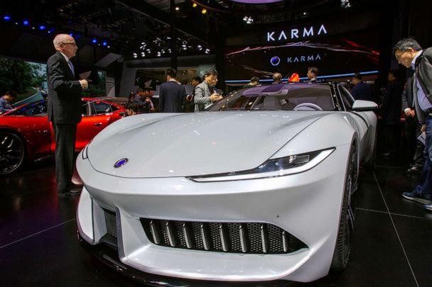 PHOTO: A Karma Pininfarina GT car is displayed during the 18th Shanghai International Automobile Industry Exhibition in Shanghai, China, April 16, 2019. (Imaginechina via AP, FILE)