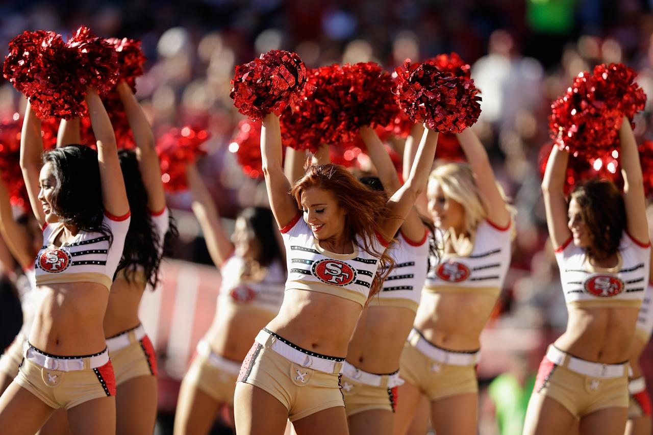 SAN FRANCISCO, CA - DECEMBER 30: The Gold Rush, the San Francisco 49ers cheerleaders, perform during their game against the Arizona Cardinals at Candlestick Park on December 30, 2012 in San Francisco, California.  (Photo by Ezra Shaw/Getty Images)