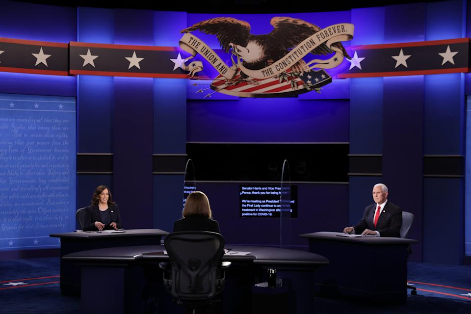Mike Pence and Kamala Harris take part in vice presidential debate (Getty Images)