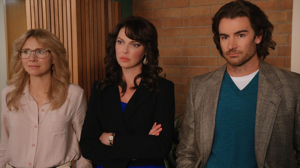 Sarah Chalke, Katherine Heigl and Aussie actor Ben Lawson don't look particularly impressed with what happens on Firefly Lane. We're 100% with you, guys. Photo: Netflix