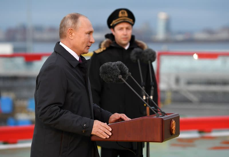 "Russian President Putin attends a flag-rising ceremony onboard the new icebreaker ""Viktor Chernomyrdin"", in Saint Petersburg"