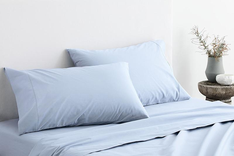 Organic Cotton 300TC Percale Sheet Set, from $167.97 from Sheridan. Photo: Sheridan.