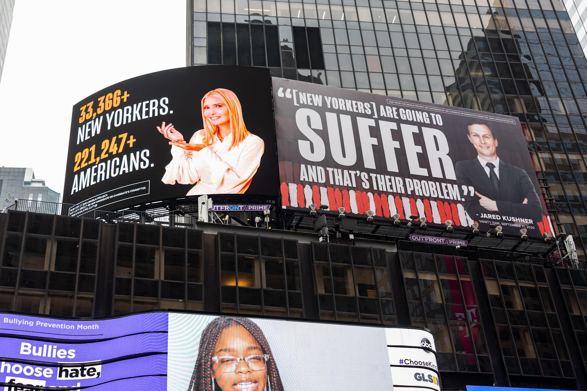 Ivanka Trump, Jared Kushner Threaten To Sue Lincoln Project Over Times Square Billboards