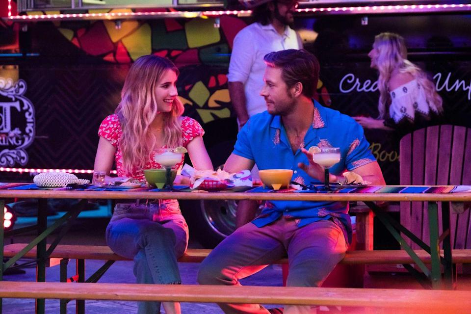 """<p>Emma Roberts and Luke Bracey star as Sloane and Jackson, two strangers who cook up a plan to be each other's fake family holiday dates. They pledge to be each other's """"holidates"""" (yes, the word is bad, but the idea is good) for every upcoming holiday in the new year. Did you guess that they end up catching feelings for each other somewhere along the way? You're such a plot genius.</p>"""