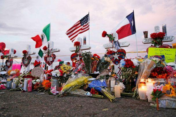 PHOTO: Flags fly over crosses at a makeshift memorial near the scene of a mass shooting at a shopping complex Tuesday, Aug. 6, 2019, in El Paso, Texas. (John Locher/AP Photo)