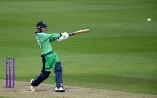Ireland's Curtis Campher hits out during his 68 in the 2nd ODI against England
