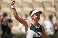Czech Republic's Barbora Krejcikova celebrates after defeating United States's Sloane Stephens during their fourth round match on day 9, of the French Open tennis tournament at Roland Garros in Paris, France, Monday, June 7, 2021. (AP Photo/Thibault Camus)