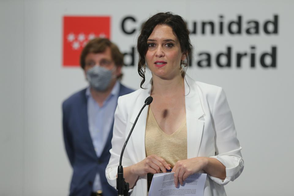 MADRID, SPAIN - MAY 21: The President of the Community in functions, Isabel Diaz Ayuso, intervenes in the acts of celebration of the Day of Madrid in Fitur, on 21 May, 2021 in Madrid, Spain. Today is the third day of the International Tourism Fair, Fitur 2021 'Special Tourism Recovery'. It is the first fair in hybrid format of the international circuit of major events and is the great strategic commitment of the Spanish Government for the recovery of tourism. Organised by Ifema Madrid from 19 to 23 May, the fair brings together more than 5,000 participants from the five continents, with the presence of all the autonomous communities and companies and destinations from 55 countries. (Photo By I.Infantes.POOL/Europa Press via Getty Images)