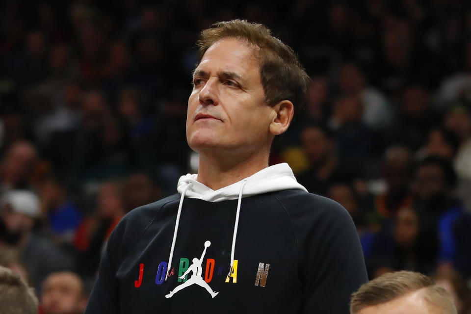 Dallas Mavericks owner Mark Cuban watches on from behind the bench during the second half of an NBA game against the Atlanta Hawks at State Farm Arena on February 22, 2020 in Atlanta, Georgia. NOTE TO USER: User expressly acknowledges and agrees that, by downloading and/or using this photograph, user is consenting to the terms and conditions of the Getty Images License Agreement. (Photo by Todd Kirkland/Getty Images)