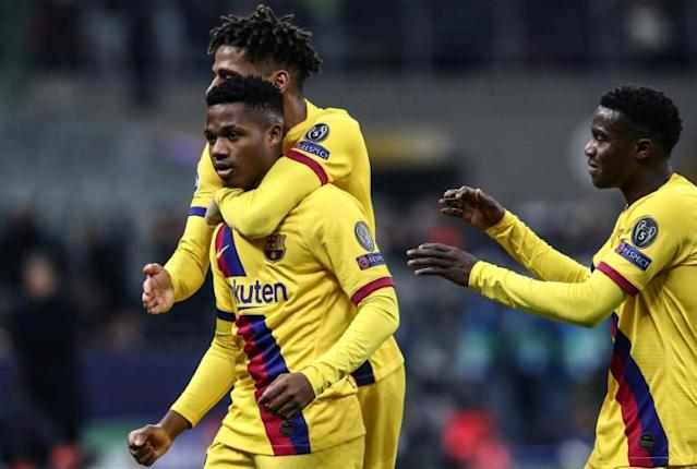Ansu Fati became the youngest player to score in the Champions League when he netted Barcelona's winner away to Inter (AFP Photo/Isabella BONOTTO)