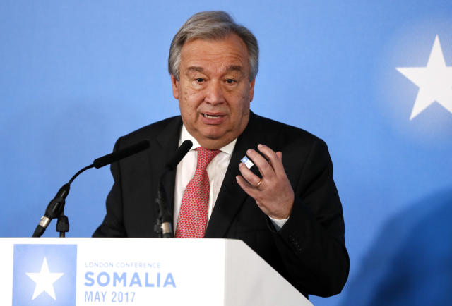 UN Secretary General Antonio Guterres speaks during a press conference after the 2017 Somalia Conference at Lancaster House in London, Thursday, May 11, 2017. The Somalia Conference is aimed at improving stability and prosperity in Somalia and boosting the humanitarian response to the drought. (AP Photo/Kirsty Wigglesworth)