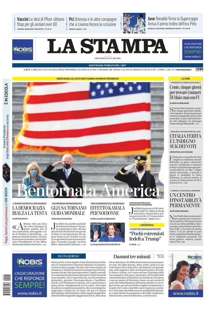 January 21, 2021 front page of La Stampa