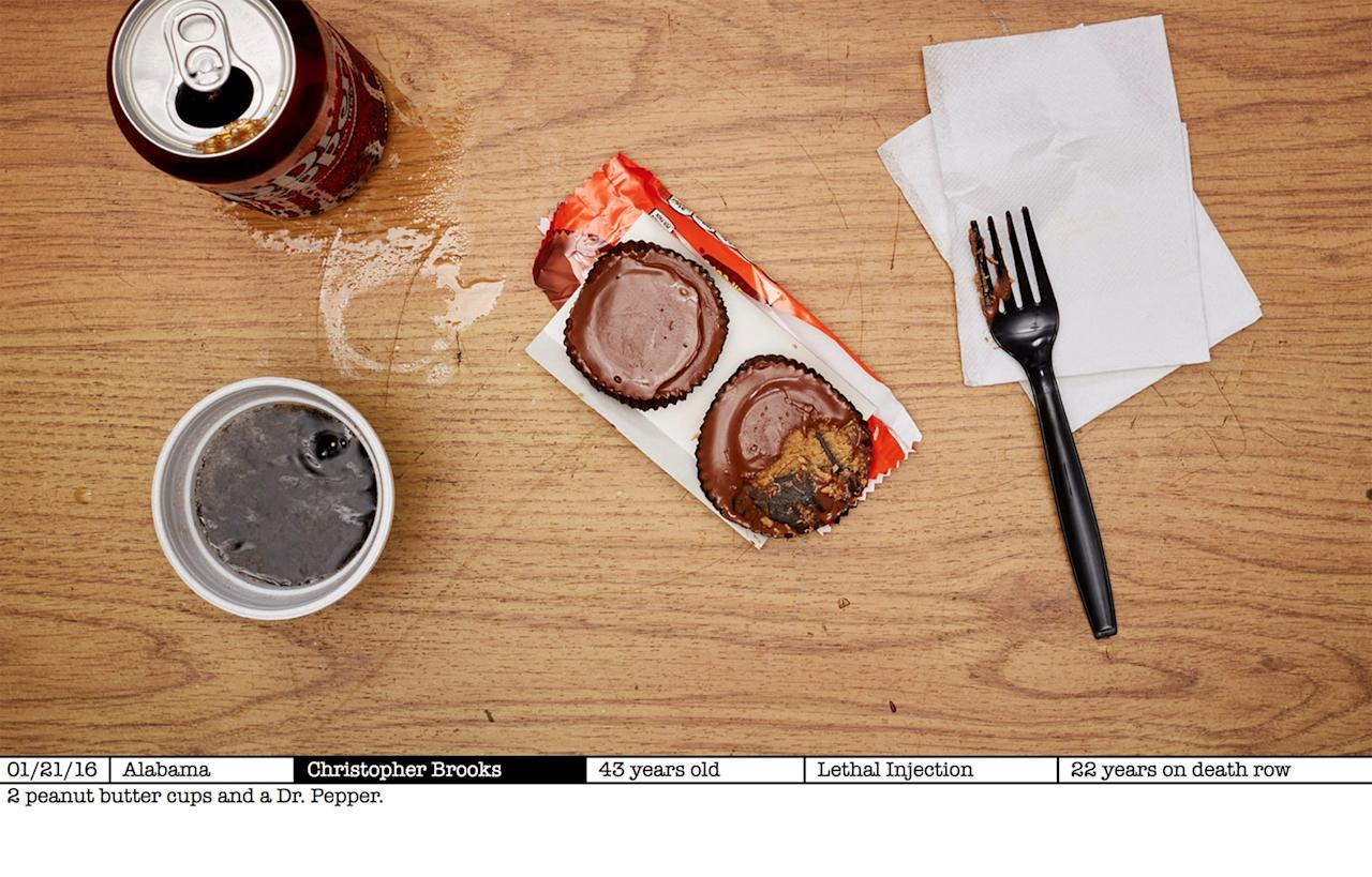 <p>One prisoner requested two peanut butter cups and a Dr Pepper (Picture: AYearOfKilling.com) </p>