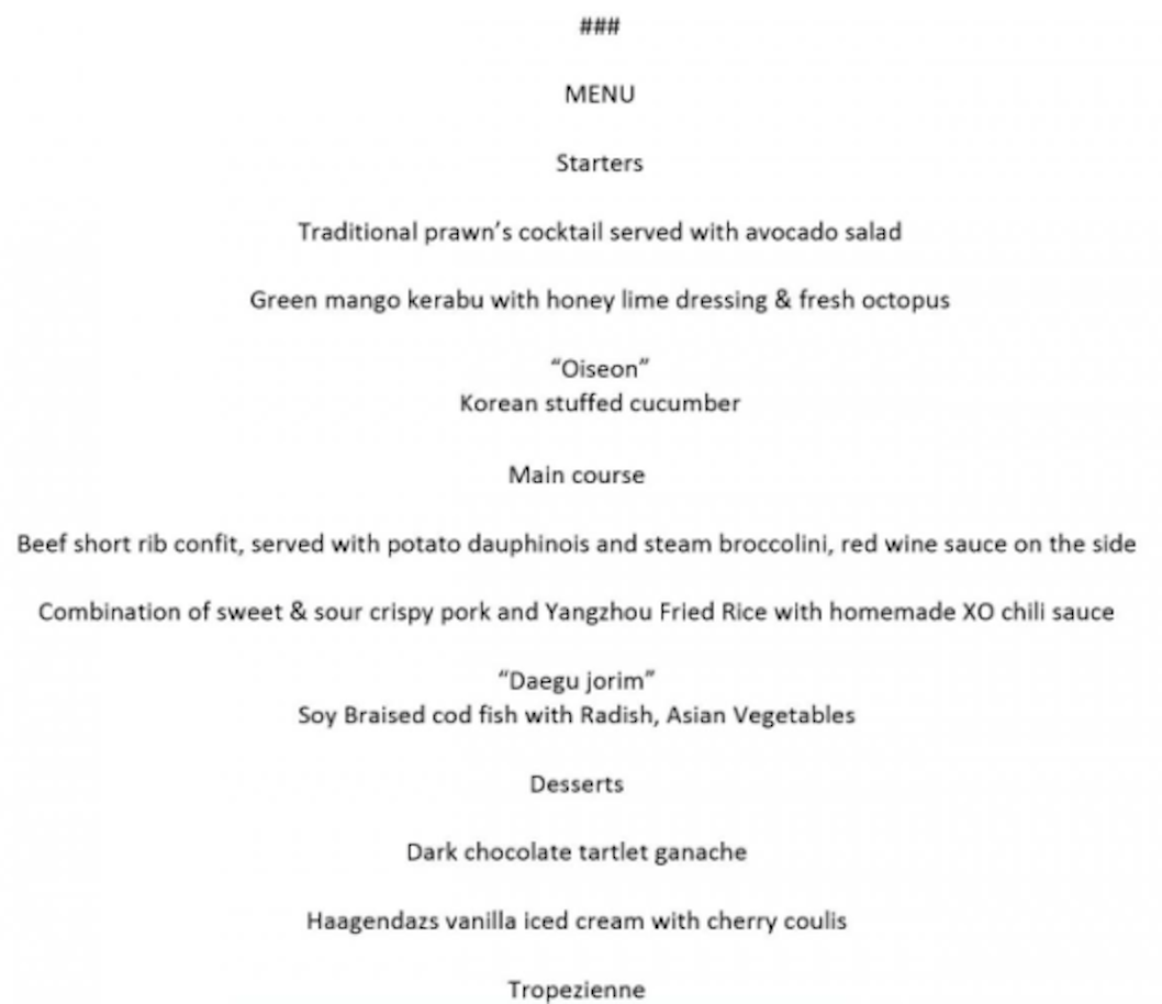 The White House published the menu enjoyed by the two leaders (Picture: The White House)