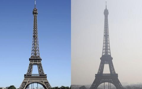 The Eiffel tower in central Paris through a haze of pollution (R) taken on March 14, 2014 and during clear weather (L) on August 17, 2012. - Credit: BERTRAND GUAY/AFP
