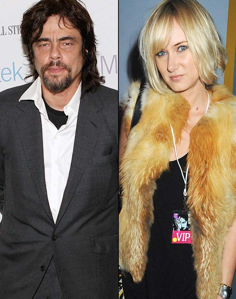 "Talk about an unlikely match! Smoldering actor Benicio Del Toro and celebutante Kimberly Stewart (perhaps best known for the time she accidentally zoomed off on a motorcycle on the red carpet alongside Paris Hilton) became parents of a baby girl, Delilah, on Stewart's 32nd birthday on August 21 in L.A. When announcing Kimberly's pregnancy, her rep made it clear the two were not together: ""Although they are not a couple, they are looking forward to the arrival of the baby."""
