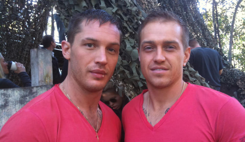 <p>The British actor is not afraid to admit how important stuntmen are to his on-screen success, even doing interviews with the one who stood in for him during 'Mad Max: Fury Road'.</p><p>This is him with Lloyd Bateman ('The Revenant' 'Tomorrowland') on the set of 2012 action comedy 'This Means War'.</p>
