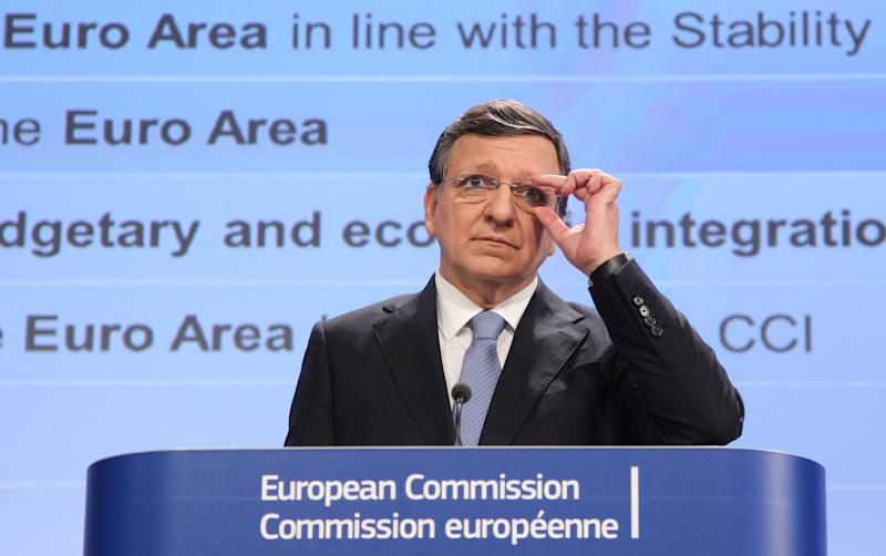 European Commission President Jose Manuel Barroso addresses the media as they present a blueprint for a deep and genuine economic and monetary union, at the European Commission headquarters in Brussels, Wednesday, Nov. 28, 2012. (AP Photo/Yves Logghe)