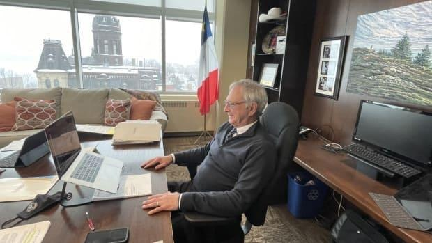 New Brunswick government officials have largely switched to online meetings since the start of the COVID-19 pandemic, including Higgs, shown here last week speaking with the New Brunswick Nurses Union online from his office last week.