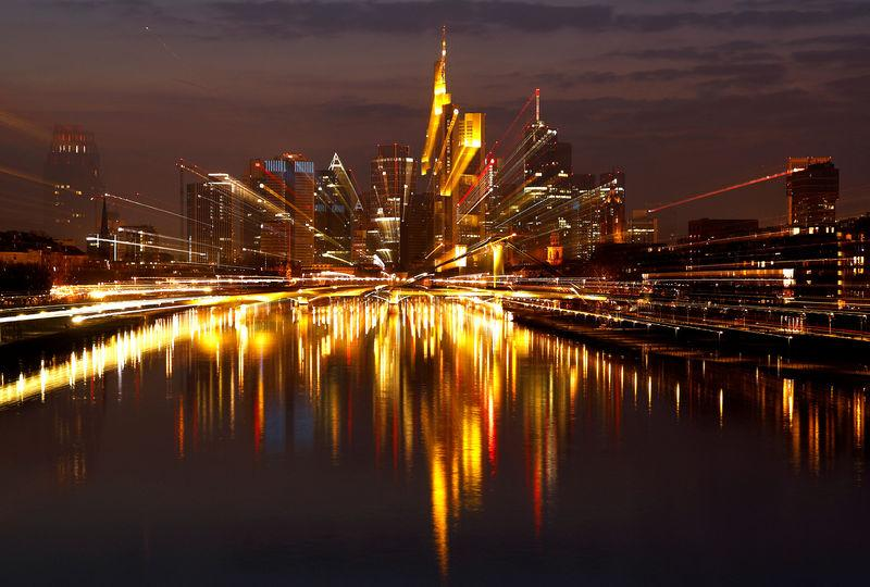 FILE PHOTO: The Frankfurt skyline with its financial district is photographed on early evening in Frankfurt