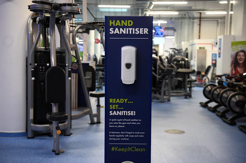 A hand sanitiser station inside the Gym Group in Vauxhall, London, after it was announced that gyms will be allowed to reopen from 25 July.