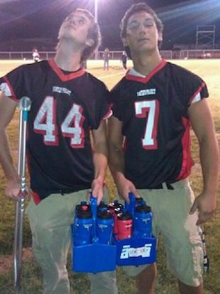 Huntley Project football player Koni Dole, wearing number 7, before his injury — Facebook