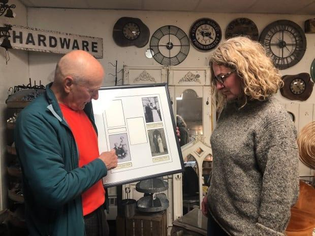 Staffen fills Marlene Jennings in on some of his family history. Jennings calls the trunk reunion a 'once-in-a-lifetime story.'