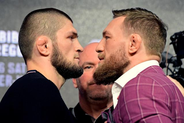 Khabib Nurmagomedov submitted Conor McGregor in the fourth round of their superfight at UFC 229 on Oct. 6 in Las Vegas. (Getty Images)