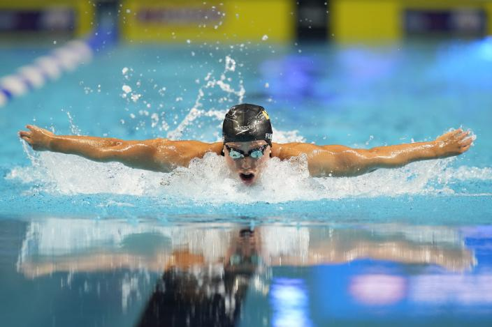 Hali Flickinger participates in the women's 200 butterfly during wave 2 of the U.S. Olympic Swim Trials on Thursday, June 17, 2021, in Omaha, Neb. (AP Photo/Charlie Neibergall)