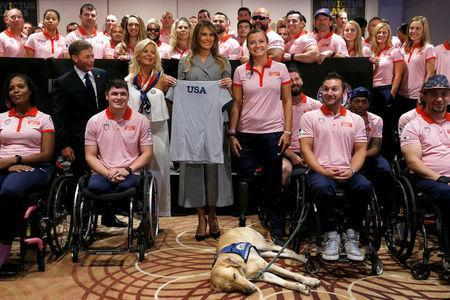 U.S. first lady Melania Trump greets members of Team USA prior to attending the opening ceremony of the Invictus Games in Toronto, Canada September 23, 2017. REUTERS/Jonathan Ernst