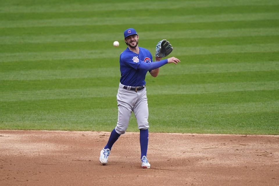 Chicago Cubs third baseman Kris Bryant throws out Chicago White Sox's Nick Madrigal.