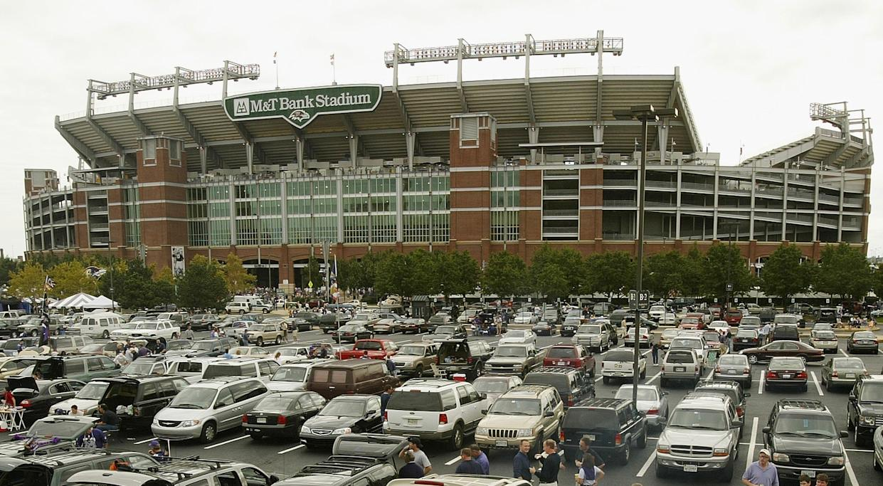 Police announced that a dead body was found in a port-a-potty in the M&T Bank Stadium parking log. (Photo by Doug Pensinger/Getty Images/file)