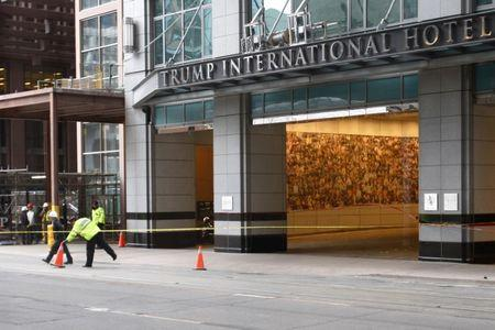 Toronto police place construction cones to close off streets surrounding Trump International Hotel and Tower in Toronto