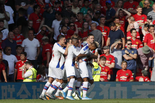 Image result for Manchester United lose 2-1 at home to Crystal Palace