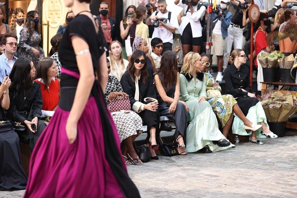 Gemma Chan sits FROW at Tory Burch (Getty Images for Tory Burch)