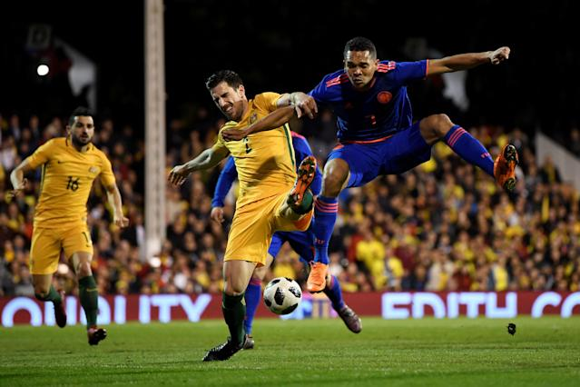 Soccer Football - International Friendly - Australia vs Colombia - Craven Cottage, London, Britain - March 27, 2018 Australia's Milos Degenek in action with Colombia's Carlos Bacca Action Images via Reuters/Tony O'Brien