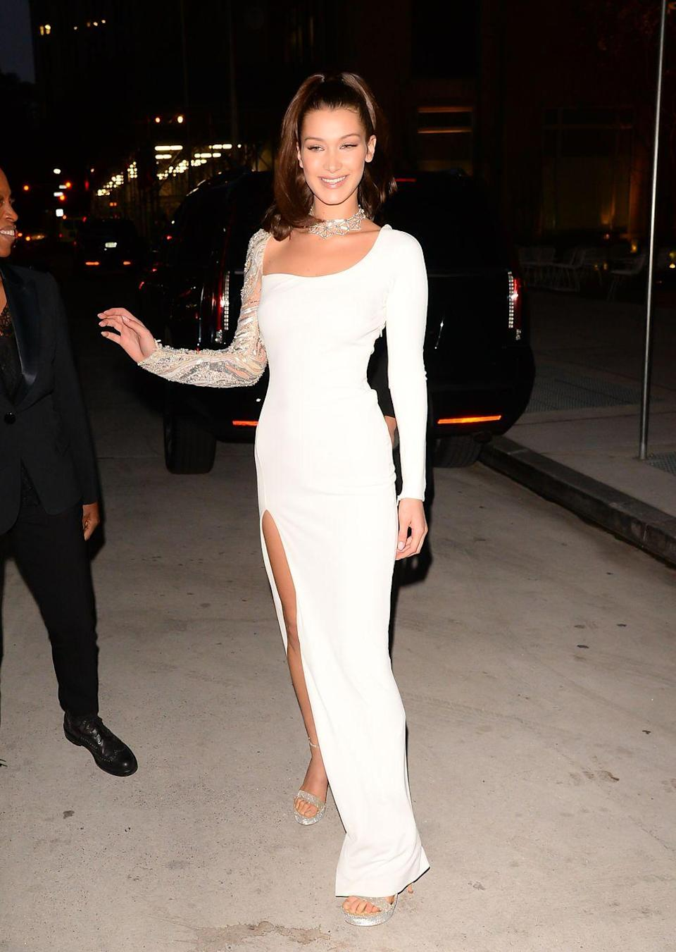 <p>In a white gown by Roberto Cavalli Couture in New York City.</p>
