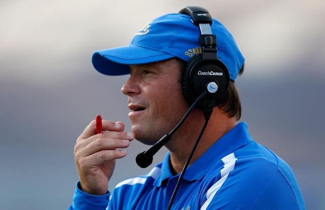 HOUSTON, TX - AUGUST 30: Head coach Jim Mora watches his UCLA Bruins during the game against the Rice Owls at Rice Stadium on August 30, 2012 in Houston, Texas. (Photo by Scott Halleran/Getty Images)