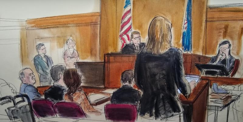 In this courtroom sketch, a witness weeps as she testifies during the Harvey Weinstein trial, Friday, Jan. 31, 2020, in New York. Source: Elizabeth Williams via AP