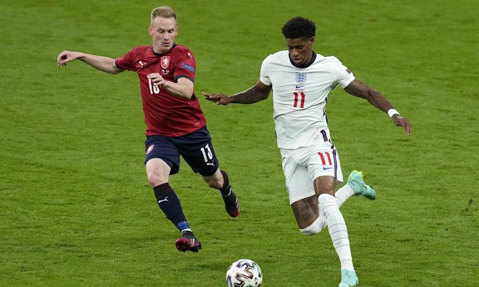 Marcus Rashford, pictured in action against the Czech Republic, is one of several England players who had not yet been born when England lost against Germany at Euro 96.