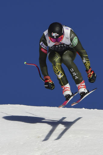United States' Ryan Cochran Siegle speeds down the slope during training for an alpine ski, men's World Cup downhill in Wengen, Switzerland, Thursday, Jan. 16, 2020. (AP Photo/Marco Tacca)