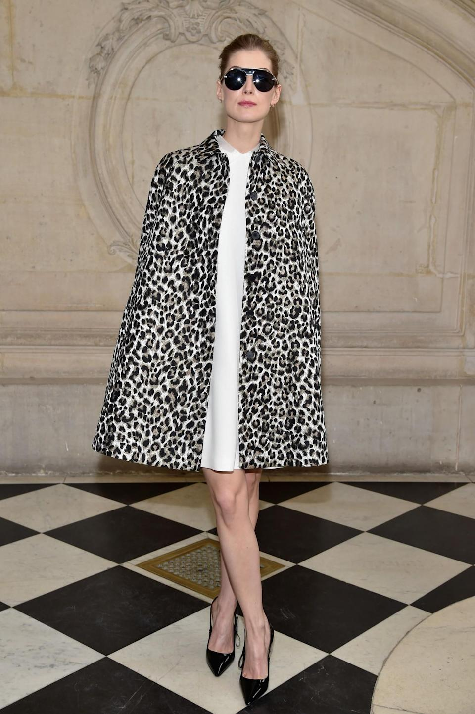 <p>Rosamund Pike was eye-catching in a leopard print coat. <i>[Photo: Getty]</i> </p>