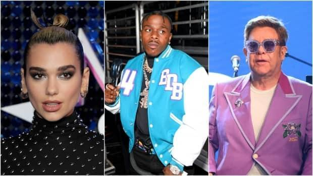 Dua Lipa, left, and Elton John, right, have condemned DaBaby, centre, for homophobic comments the rapper made during his performance at the Rolling Loud music festival in Florida over the weekend.  (John Phillips/Getty Images, Paras Griffin/Getty Images, Tim P. Whitby/Getty Images - image credit)
