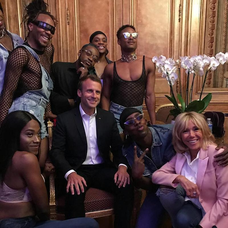 Emmanuel Macron and his wife Christine pose with LGBT dancers during an electronic music party, provoking outrage among France's Rightwingers - Pierre Olivier Costa/via Instagram