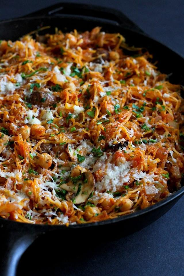 """<p>Everyone loves spaghetti squash, which is why this <a rel=""""nofollow"""" href=""""https://www.cookincanuck.com/vegetarian-spaghetti-squash-skillet-recipe/"""">Vegetarian Spaghetti Squash</a> recipe is so perfect. Fire up the skillet, and you're ready to roll!</p>"""