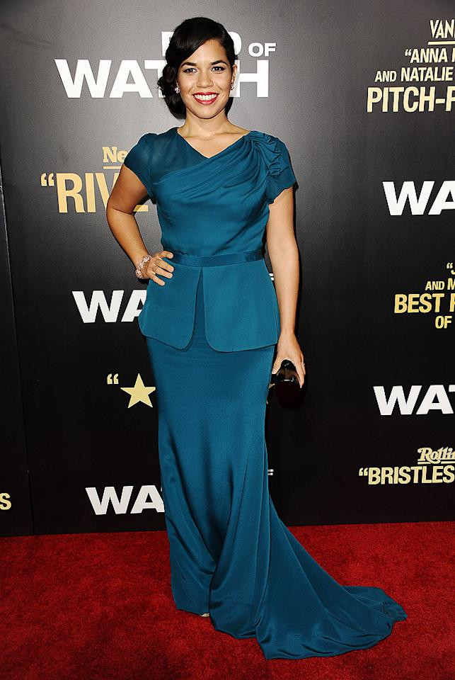 "America Ferrera has been MIA for quite some time, but the ""Ugly Betty"" alum made a triumphant return to the red carpet at the star-studded <a target=""_blank"" href=""http://movies.yahoo.com/movie/end-of-watch/"">""End of Watch""</a> premiere on Monday evening in this chic Rachel Roy getup. Ferrera's fab accessories included Lorraine Schwartz baubles, a black tube clutch, and her signature smile. (9/17/2012)<br><br><a target=""_blank"" href=""http://twitter.com/YahooOmg"">Follow omg! on Twitter!</a>"