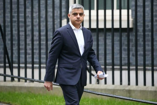 London Mayor Sadiq Khan says it is too early to talk about Premier League football being played in the capital (Jonathan Brady/PA)