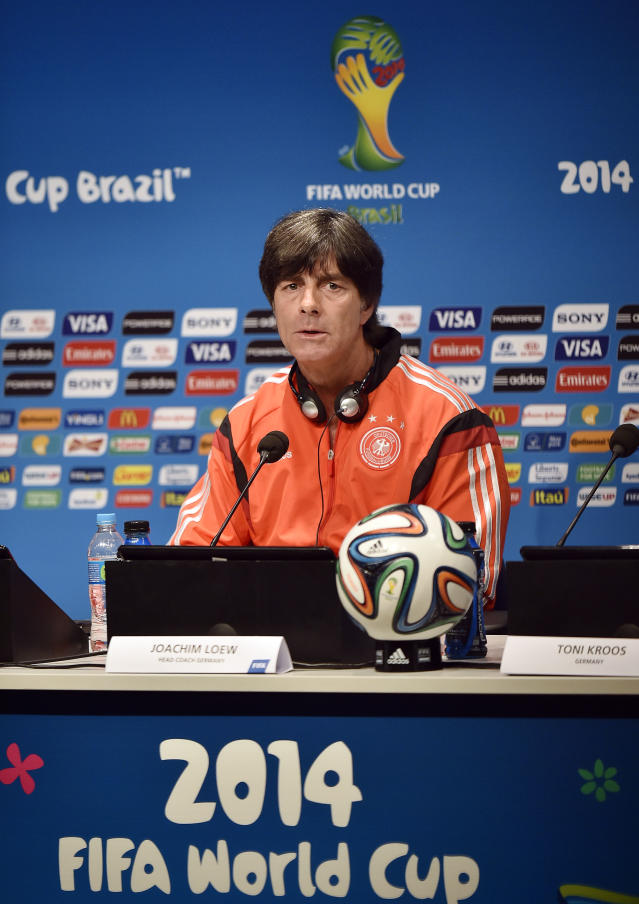 Germany's head coach Joachim Loew talks to the media during a press conference one day before the World Cup quarterfinal soccer match between Germany and France at the Maracana Stadium in Rio de Janeiro, Brazil, Thursday, July 3, 2014. (AP Photo/Martin Meissner)