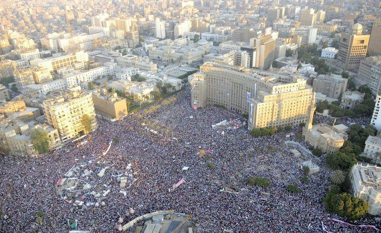 An Egyptian army picture of Cairo's Tahrir square crowded with demonstrators on Friday. Dozens were killed during clashes in Cairo, Egypt's health ministry said, after violence erupted at a demonstration in support of ousted president Mohamed Morsi